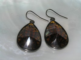 Estate Large Faceted Bronze Teardrop Cab w Oxidized Silvertone Web Back ... - $9.49