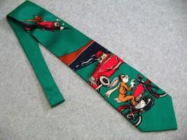 Looney Tunes Novelty Neck Tie Bugs Bunny Taz Daffy Duck Green 100% Silk - $9.46