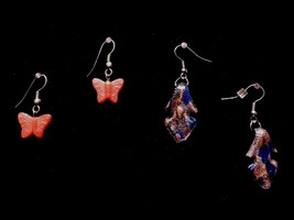 Two Pair Vintage Earrings Arrow Shape Sparkle Butterfly Costume Fashion ... - $9.66