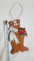 """Wood Painted Bear With bow and train Christmas Ornament Holiday Decoration 5.5"""" - $6.35"""
