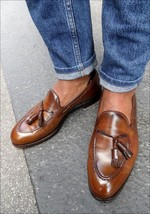 Handcrafted Brown Color Tassel Loafer Slip Ons Apron Toe Classical Men Shoes image 2