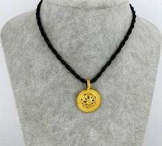 Ethiopian Black Rope Gold Color Necklace Pendant Fashion Women Africa Je... - $12.86