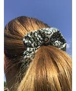 Handmade White and Green Medium Scrunchie - $3.50