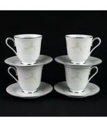 Noritake Temptation Cups & Saucers 4 Sets, Vintage China White Floral Te... - $24.50