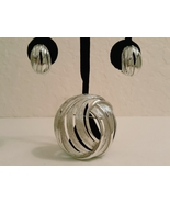 Vintage Round Abstract Silver Tone Brooch and Earring Set - $27.00