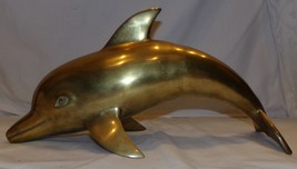 "Brass Dolphin Figure Figurine Large 17 1/2"" Fish Beach Porpoise Statue - $63.71"
