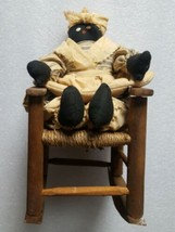 Vintage Mammy Rag Doll in Rocking Chair Black Americana Folk Art - $76.62