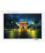 France Postcard Paris Arc de Triomphe At Night - $2.84