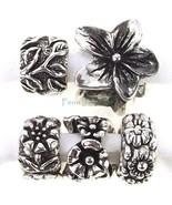 5pc Flower Bead Set Cherry Blossom Large Hole Slider for European Charm ... - $13.49