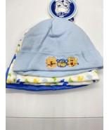 GERBER NEWBORN BABY BOY'S 3-Pack  Cotton Caps Hats Blue - NWT Size 0 - $12.77
