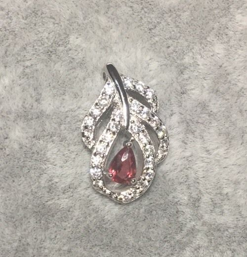 "2CT Ruby & White Topaz 925 Sterling Silver Slider Pendant Feather 1.2"" L"
