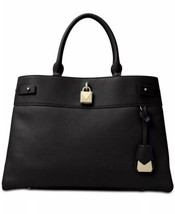 Nwt Michael Michael Kors Gramercy Large Leather Satchel BLACK/GOLD Msrp $358.00 - $178.19