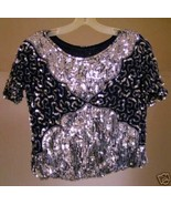 Sequined Navy and Silver Glamour Top med. 100% Silk  - $10.00