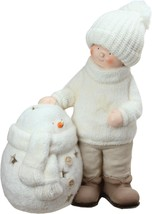 Northlight 17.25 White Tealight Snowman Standing Boy Christmas Candle Ho... - $39.19