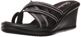 Skechers Cali Women's Rumblers Go2gal Wedge Sandal, Black Gem, 9 M US - $66.83