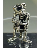 LOOK Creepy Smoking Skeleton Toilet Solid heavy Sterling silver Pendant ... - $50.78