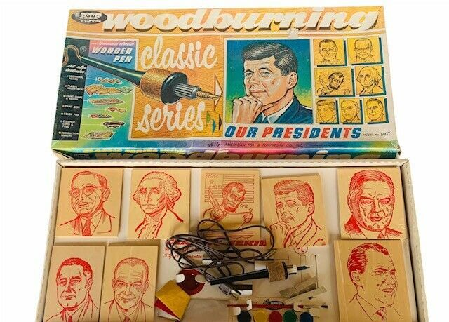 Primary image for Our Presidents ATF Toys Woodburing game classic RARE wonder pen wood JFK Kennedy