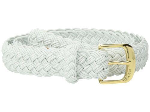 Lauren Ralph Lauren Woven Stretch Belt (White/Gold, L)