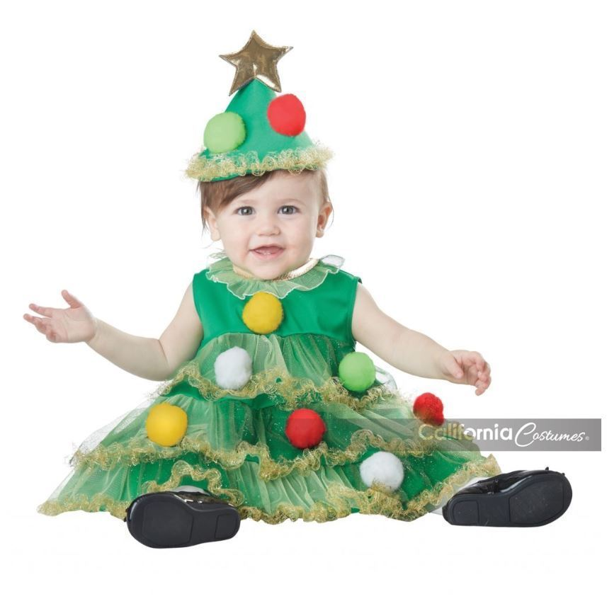 2pc Lil Christmas Tree Infant Holiday Costume Babies First Christmas Dress