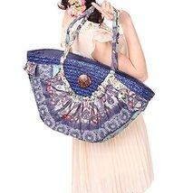 Bohemian Style Large Straw Tote Handbag Blue