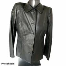 Women's Croft N Barrow Sz Medium Black Leather Jacket - $23.38