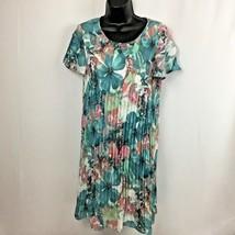 SPENSE Women Lined Accordion Pleat Asymmetrical Short Petal Sleeve Dress... - $34.95