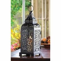 Tower Candle Lantern Matte Black Iron w/ Intricate Cutouts Moroccan Style - $19.75