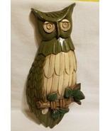 Mid Century Owl Sexton 1969 Metal Green Wall Art Decor Cast Metal - $24.74