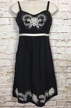 MOULINETTE SOEURS ANTHROPOLOGIE Atwitter Dress Black W/ White Embroidery... - $37.61