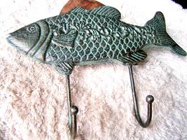 Cast Iron FISH Towel, Coat Hooks, Hat Hook, Key Rack FISHING GREEN bz - $24.98