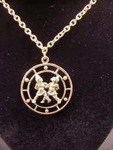 "Celebrity Gemini Zodiac Pendant Medallion Necklace 30"" Chain The Twins ... - $14.84"