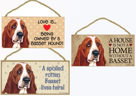 """Basset Hound Dog Sign Plaque 10""""x5"""" House not Home, Spoiled Lives Here, ... - $10.95"""
