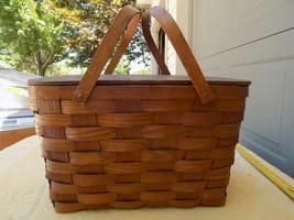 Large Vintage Woven Wood Picnic Basket Farmhouse Country Decor/ Plates &... - $27.72