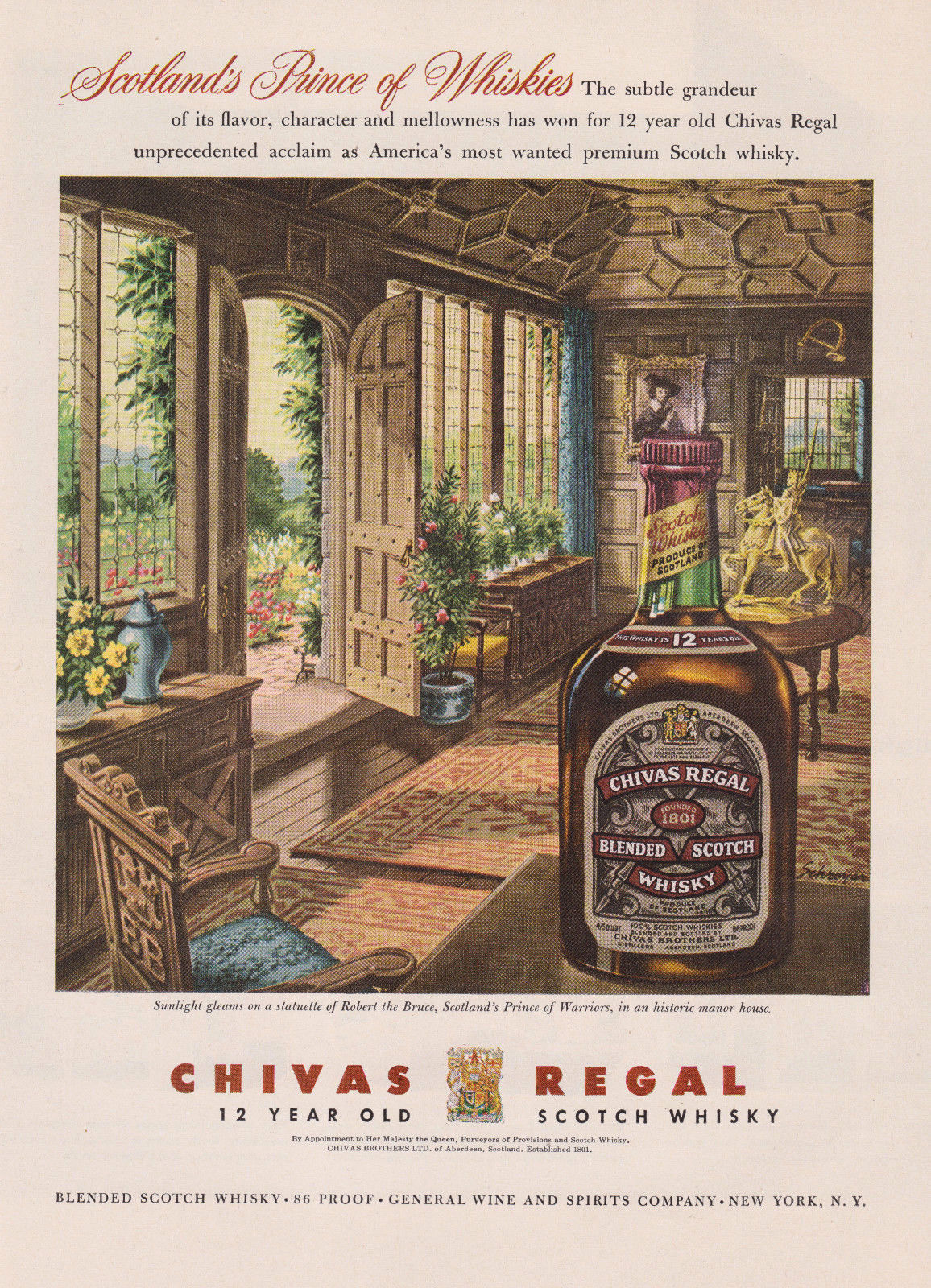 a351696a2d4a4 Vintage Chivas Regal Original 1958 Print Ad Scotch Whisky Robert the Bruce  Manor