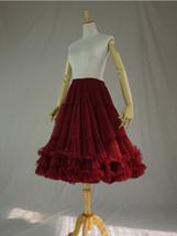 Burgundy MIDI Tulle Skirt Women High Waist Tulle Midi Skirt Ballet Dance Skirt image 3