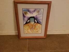 Signed & Framed Terry Yazzie 2008 15X13 Kachina Watercolor Native American - $145.42