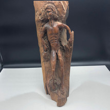 HAND CARVED WOOD NAKED MAN FOLK ART vintage antique nude male stand scul... - $495.00