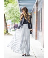 New gray pleated high waist women maxi skirt full length spring summer l... - $39.00