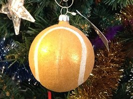 Gold Furry Flocked Baseball Blown Glass Ornament