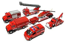 World Distributions Fire Fighting Station Department Die-Cast Car Helicopter Tow