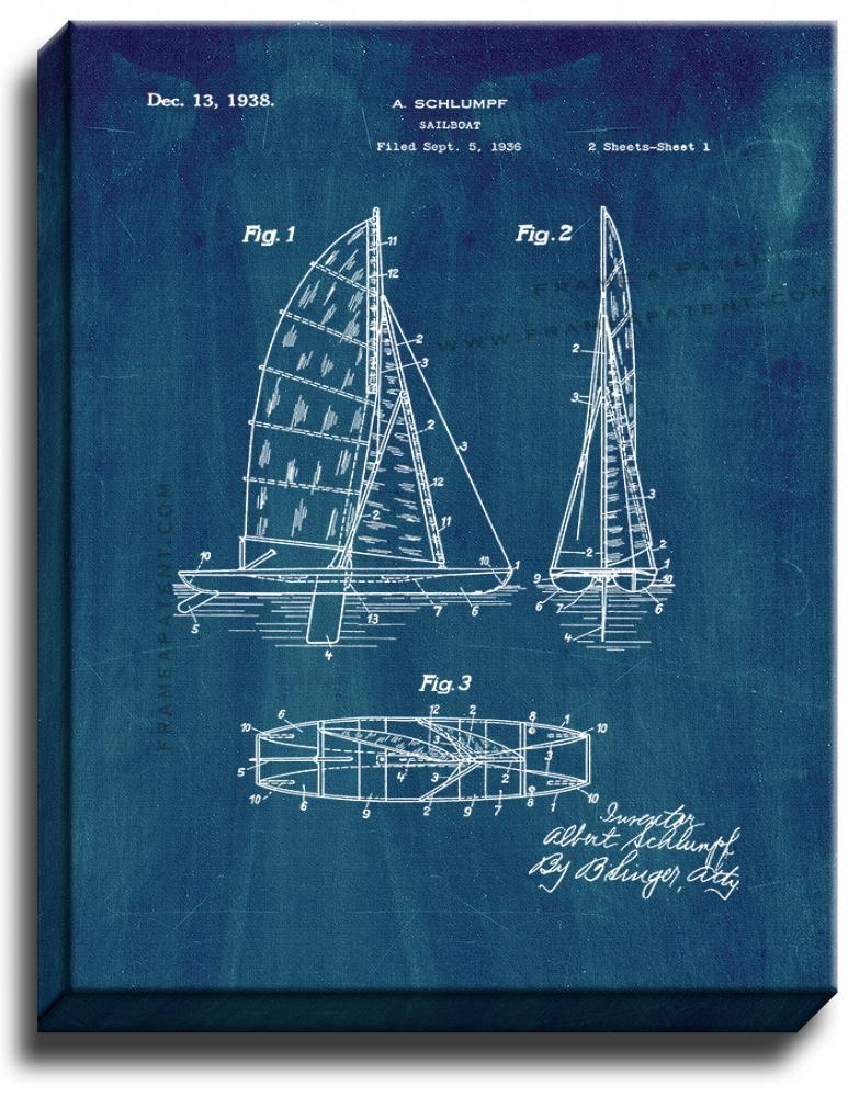Primary image for Sailboat Patent Print Midnight Blue on Canvas