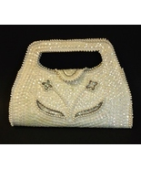 White Pearl Beaded Sequin Bag By Debbie Evening Purse Handbag Special Oc... - £19.33 GBP