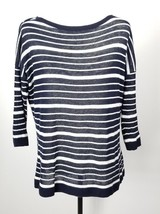 Talbots Petites Lightweight Sweater MP Blue White Stripes Linen Blend - $29.69