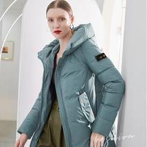 Women New English Vintage Style Solid Quilted Parka image 1