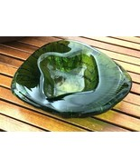 BLENKO Freeform Textured Ashtray Trinket Dish Bowl Green Amoeba Blob - $35.59