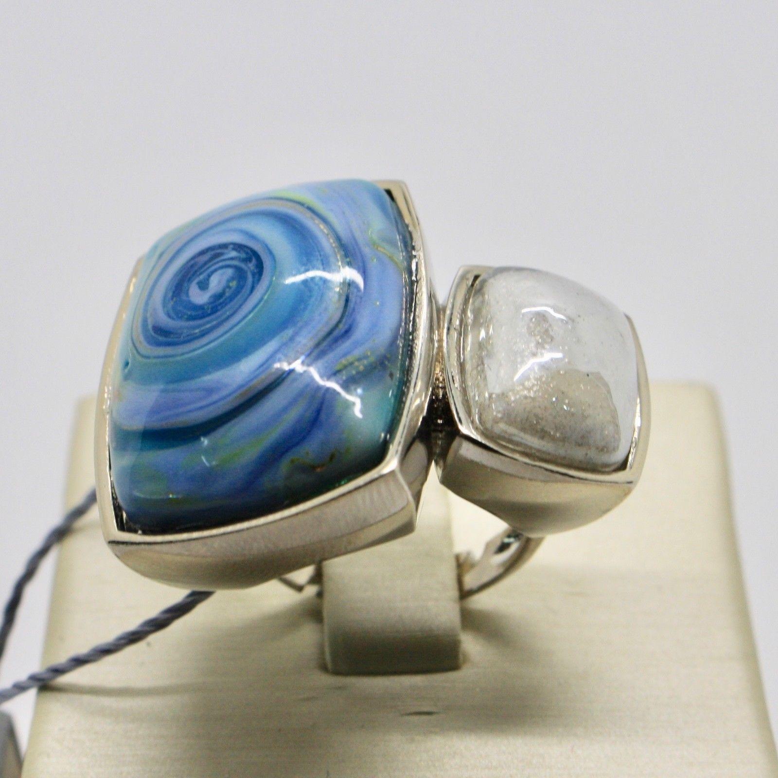 ANTICA MURRINA VENEZIA RING WITH MURANO GLASS BLUE WHITE BEIGE SILVER AN202A07