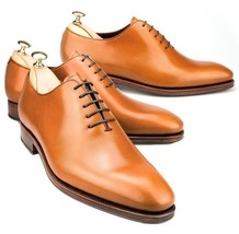 Handmade Men's Tan Leather Oxford Shoes image 2