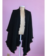 Womens Black Wrap Cape Poncho Cardigan Sweater Acrylic Open Front One Size - $19.97