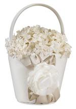 Taupe Rose Flower Basket Flower Girl Basket Wedding Basket - $15.90
