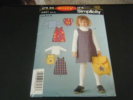 Simplicity 4441 Girl's Jumper, Knit Top & Backpack Pattern - Size 3-8 - $9.89